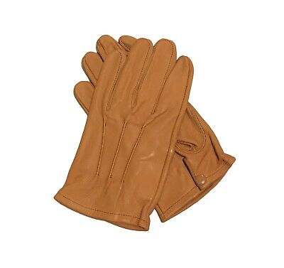 Men's genuine  leather Unlined driving gloves with snaps