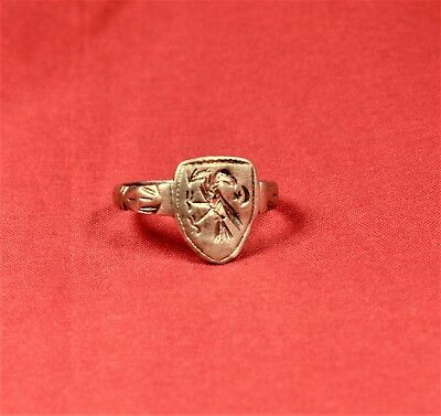 Fine Medieval Silver Knight's Seal Ring 12. Century - Bird Seal and Shield Shape 4