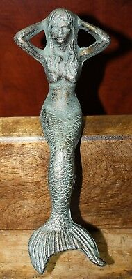 Cast Iron Antique Style Nautical Mermaid Statue Garden Pond Pool Doorstop Green 3