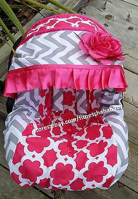 Baby hot pink flower infant car seat cover canopy cover fit most 1 of 2 baby hot pink flower infant car seat cover canopy cover fit most infant seat mightylinksfo