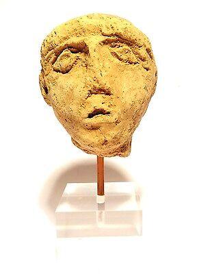 Head Greek Antique - 3° S.Front Jc - Ancient Greek Terracotta Head 400 BC 2