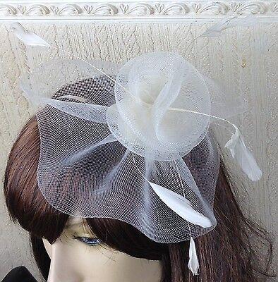 ivory netting feather hair headband fascinator millinery wedding hat ascot race 2