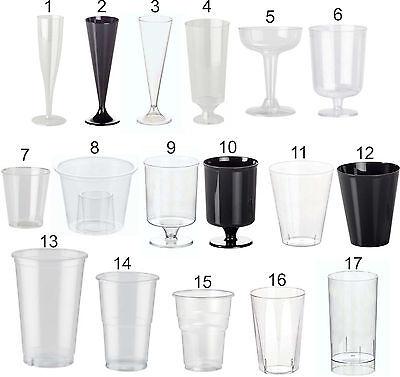 Disposable Glasses, Plastic Cocktail, Champagne, Wine, Shot, Half Pint, Tumbler 2