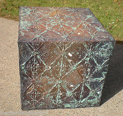 WoW! Primitive Hand Tooled Antique Victorian Ceiling Tin Tile Table Cottage Chic 2