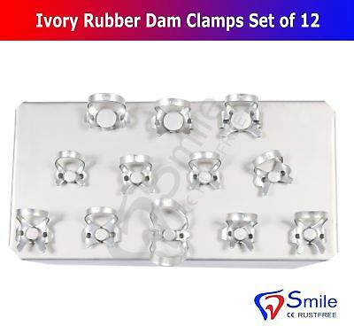 Ivory Rubber Dam Clamps Restorative Endodontic Clamp Set Of 12 Kofferdamklammern 2