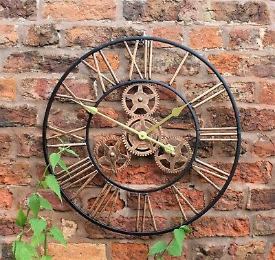 Large Metal Skeleton Wall Clock Antique gold Home Decor Round 58cm Indoor & Out 5