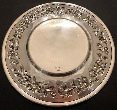 Big S. Kirk & Son Hand Decorated Sterling Silver Sandwich Plate 4