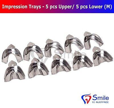 Dental Impression Trays Rim Lock Solid Size M 5 PCS Upper / 5 PCS Lower Smile 5