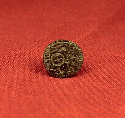 "Nice Medieval Seal Matrix Stamp With ""P F"" Monogram. 16. Century Seal 4"