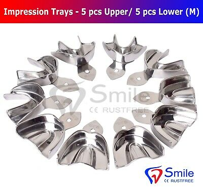 Dental Impression Trays Rim Lock Solid Size M 5 PCS Upper / 5 PCS Lower Smile 4