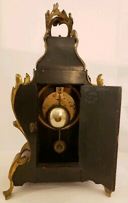 Antique 1855 V. Depose French Boulle Victorian Red Shell Bracket Mantel Clock 7