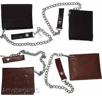 333f28921f5 ... Men s Genuine Leather Bifold Chain wallet