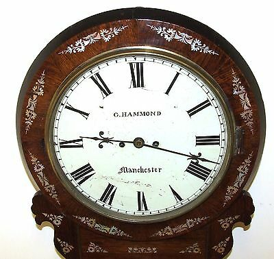Antique ROSEWOOD & Mother of Pearl TWIN Fusee Drop Dial Clock HAMMON MANCHESTER 4