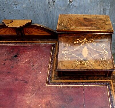 A lovely English Rosewood & Satinwood Marquetry Inlaid Writing Desk 5