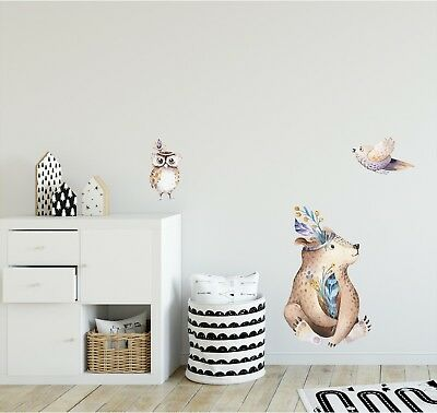 Woodland Forest Animals Wall Decal Sticker Set For Childrens Nursery Decor