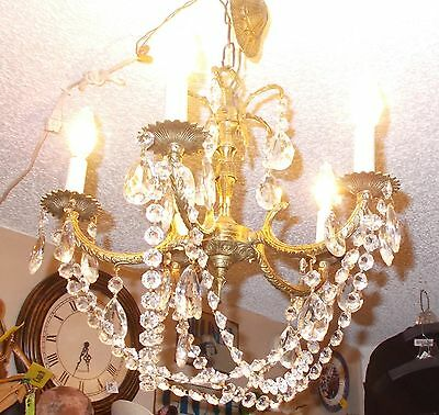 "Dramatic  Antique Spanish Brass 5 Arm Chandelier w/ Unique Button Prism ""Basket"" 2"