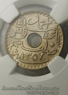 Tunisia 10 Cents AH1357/1938 (a) MS66 NGC copper-nickel KM#259 FINEST Pop 4/0 2