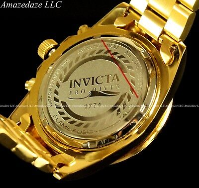 NEW Invicta Mens 18K Gold Plated Stainless Steel Golden Dial Chronograph Watch!! 9