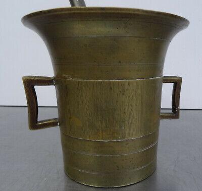 Antiker schwerer Bronze Mörser mit Pistill - Apotheker Gefäß mit Stößel 2