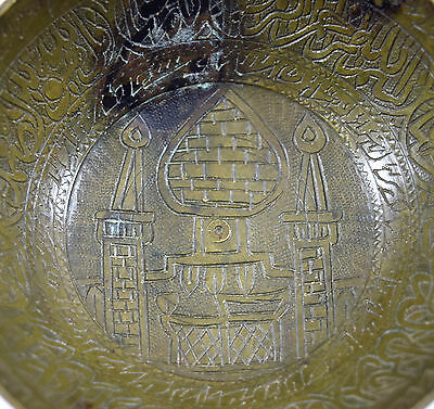 Rare Antique Old Talisman Islamic Medicine Calligraphy Brass Bowl. G3-14 US 2