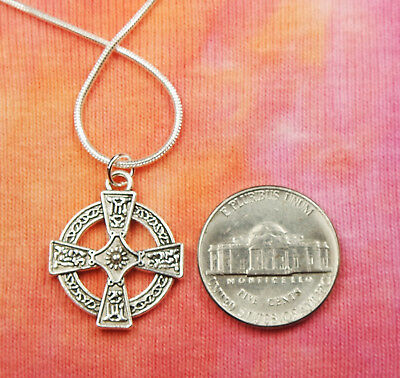 Celtic Cross Necklace, Equal Armed Square Greek Circle Charm Pendant Gift Box 4