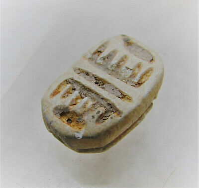 Rare Ancient Egyptian Late Period Faience Scaraboid Amulet With Heiroglyphics 3