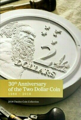 Australia:2018 30th Anniversary of the Two Dollar Coin EMPTY FOLDER & Capsules 7