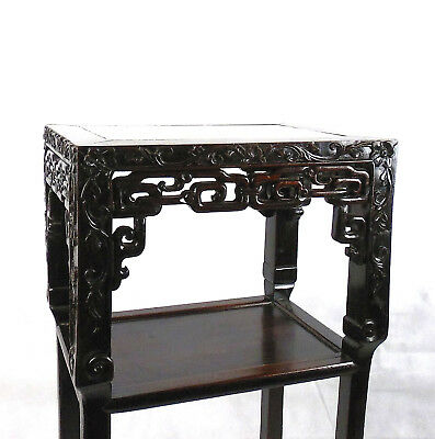 Chinese Hardwood Incense Table Marble Inset Qing Dynasty 19th C 3
