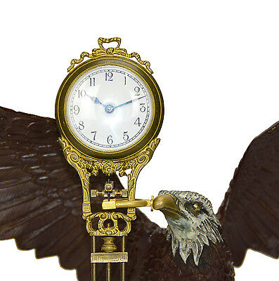 Large Brass American Eagle German Style 8 Day Swinger Movement Swinging Clock 5