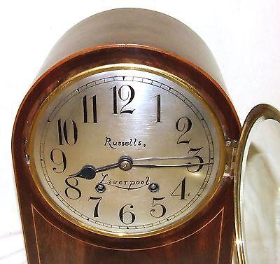 W & H Winterhald Antique Inlaid Mahogany Bracket Mantel Clock RUSSELLS LIVERPOOL 5