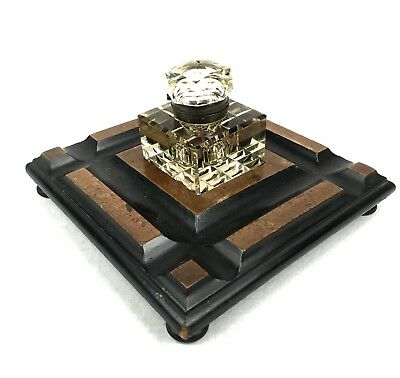 Antique Wooden Desk Stand With Smoked Cut Glass Inkwell / Large / Victorian 6