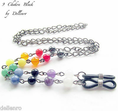 ✫9 Chakra Black✫ Gemstones Eyeglass Glasses Spectacles Chain Holder Cord