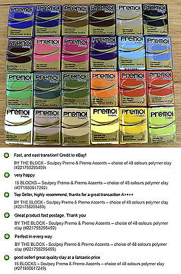BY THE BLOCK - Sculpey Premo & Premo Accents – choice of 52 colours polymer clay 2