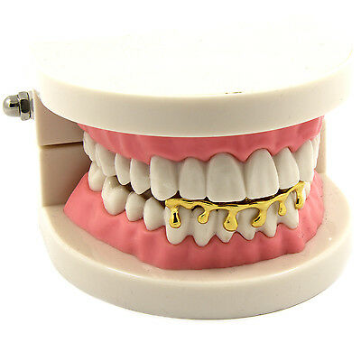 NewAgeBling Custom Fit Drip Grillz 14k Gold Plated Hip Hop Teeth Caps Lower Bottom Grill