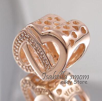 b690aa50d ... ENTWINED LOVE Genuine PANDORA Rose GOLD Plated Interlocking HEART Charm/Bead  NEW 2