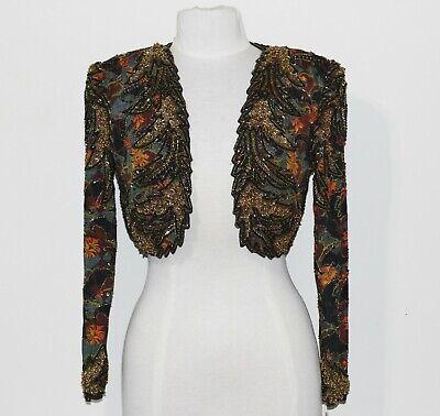Jasdee Vintage Bolero Jacket Hand Work Bead & Sequins & HandPrint On Silk # 2020 2