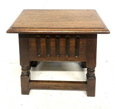 Antique Carved Oak Joint Stool Slipper Box / Occasional Table / Lamp Stand 5