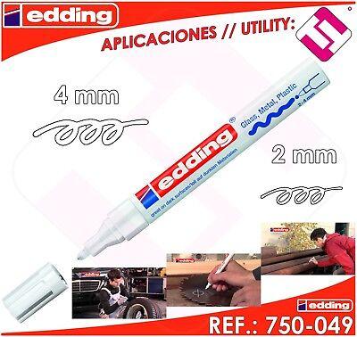 Rotulador Edding Marcador Blanco Permanente Profesional 2 - 4 Mm Modelo 750-049 3