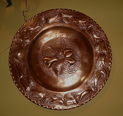 Vtg Solid Heavy Copper  Plate Ornate Great Fruit Flowers Unique Nice 3