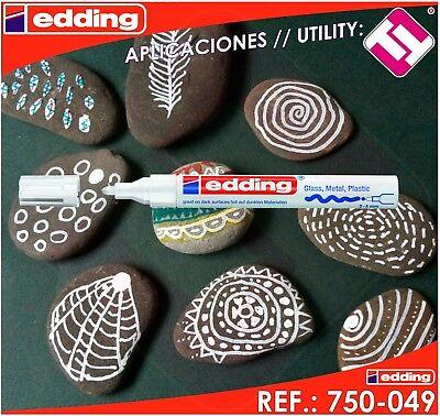 Rotulador Edding Marcador Blanco Permanente Profesional 2 - 4 Mm Modelo 750-049 12