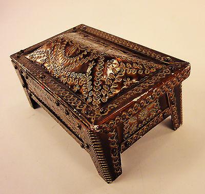 1976 Vintage Retro Metal Jewelry box, rectangular enamel box, red velvet incide 10
