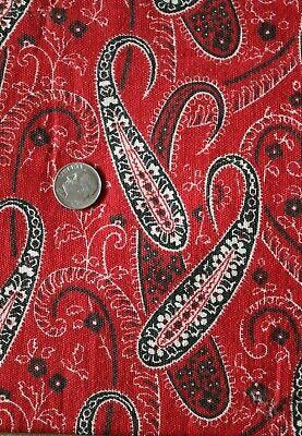 "Antique American 19thC Printed Paisley Turkey Red Bandana Cotton Fabric~18""X23"" 3"