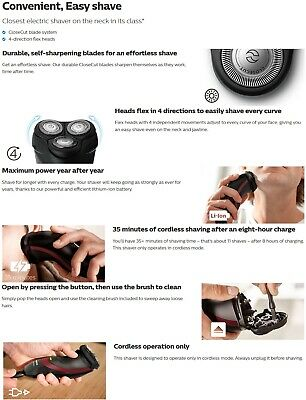 (END1/9) PHILIPS CloseCut Blade System 4-Direction Flex Head Dry Electric Shaver 4