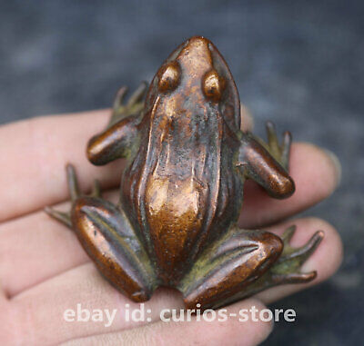 57MM Collect China Bronze Unique Mascot Frog Conforming To Good Taste Statue 6