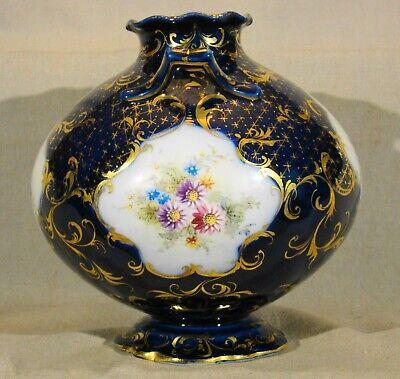 "Antique Continental Porcelain Hand Painted Cobalt & Gold Urn mid 19th c 7""h 5"