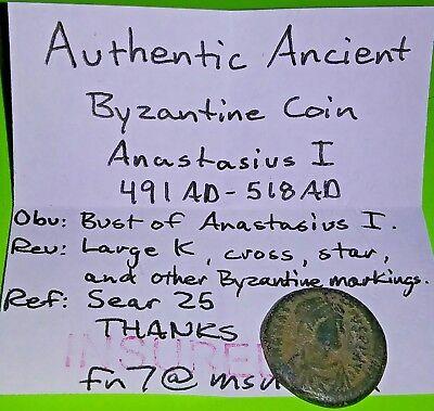 Anastasius I 491 AD Byzantine Coin VF half follis Christian cross star very good 3