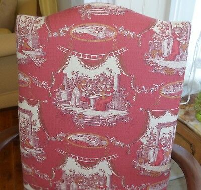 Vintage Martha Washington Arm Chair in Red Toile Stanley Chair Co. 2