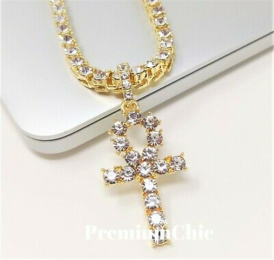 ANKH Cross Pendant Tennis Chain 14K Silver Gold Rose Hip Hop Bling Necklace 8