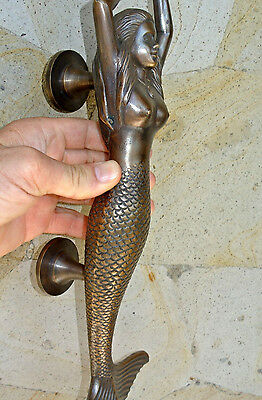 """large MERMAID solid brass door PULL old style heavy house PULL handle 15"""" aged B 2"""