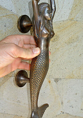 """large MERMAID solid brass door PULL old style heavy house PULL handle 15"""" aged B 4"""